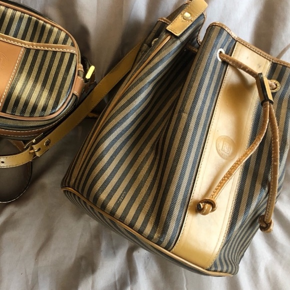 Fendi Vintage Draw String Striped Bucket Bag